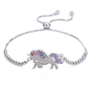 Silver Rainbow Unicorn Beaded Adjustable Bracelet